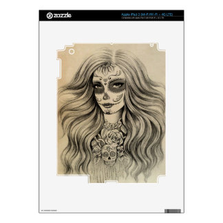Sugar Skull Girl Drawing iPad Skins