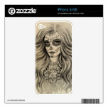 Sugar Skull Girl Drawing iPone Skins 4/4S Decal For iPhone 4
