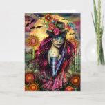 Sugar Skull Girl Halloween Fantasy Art Blank Card