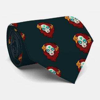 Sugar Skull Girl in Burgundy, White and Green Neck Tie