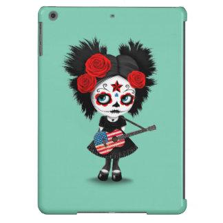 Sugar Skull Girl Playing American Flag Guitar iPad Air Case