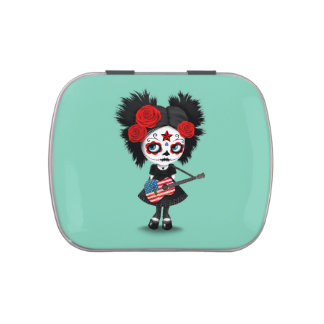 Sugar Skull Girl Playing American Flag Guitar Jelly Belly Candy Tins