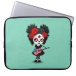 Sugar Skull Girl Playing American Flag Guitar Laptop Computer Sleeve