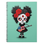 Sugar Skull Girl Playing American Flag Guitar Spiral Note Book