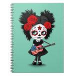 Sugar Skull Girl Playing American Flag Guitar Spiral Notebook