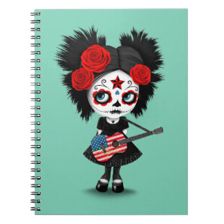 Sugar Skull Girl Playing American Flag Guitar Spiral Notebook