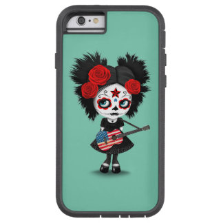 Sugar Skull Girl Playing American Flag Guitar Tough Xtreme iPhone 6 Case