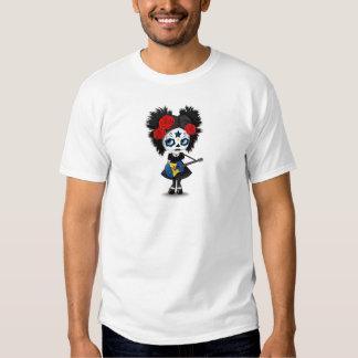 Sugar Skull Girl Playing Barbados Flag Guitar Shirt