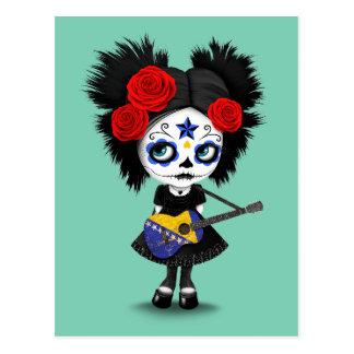 Sugar Skull Girl Playing Bosnian Flag Guitar Postcard