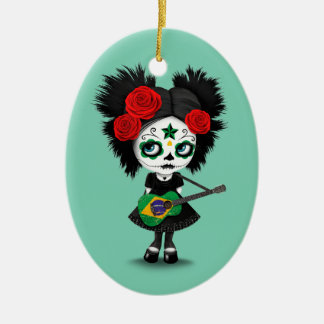 Sugar Skull Girl Playing Brazilian Flag Guitar Ceramic Ornament