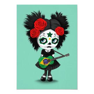 "Sugar Skull Girl Playing Brazilian Flag Guitar 5"" X 7"" Invitation Card"