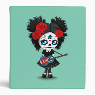 Sugar Skull Girl Playing Colorado Flag Guitar 3 Ring Binder