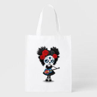 Sugar Skull Girl Playing Colorado Flag Guitar Grocery Bag