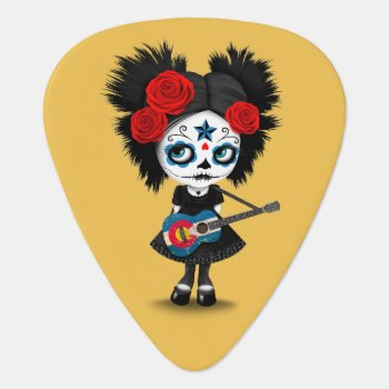 Sugar Skull Girl Playing Colorado Flag Guitar Guitar Pick by crazycreatures at Zazzle