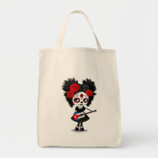 Sugar Skull Girl Playing Cuban Flag Guitar Tote Bag