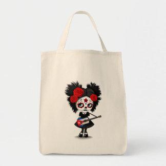 Sugar Skull Girl Playing Cuban Flag Guitar Tote Bag