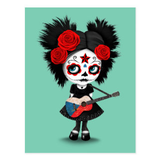 Sugar Skull Girl Playing Czech Flag Guitar Postcard