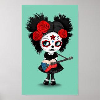 Sugar Skull Girl Playing Czech Flag Guitar Poster