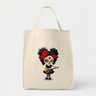 Sugar Skull Girl Playing Ecuadorian Flag Guitar Tote Bag