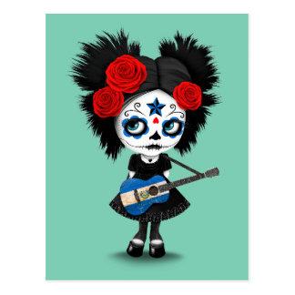 Sugar Skull Girl Playing El Salvador Flag Guitar Postcard