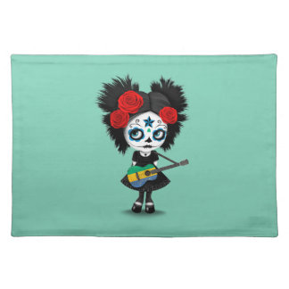 Sugar Skull Girl Playing Gabon Flag Guitar Cloth Placemat