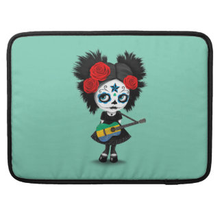 Sugar Skull Girl Playing Gabon Flag Guitar MacBook Pro Sleeve