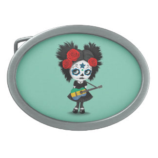 Sugar Skull Girl Playing Gabon Flag Guitar Oval Belt Buckle