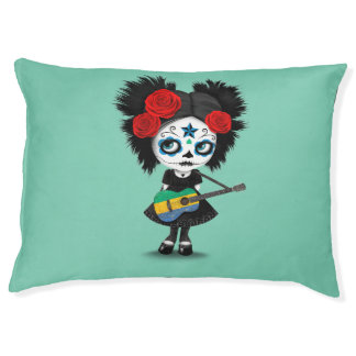Sugar Skull Girl Playing Gabon Flag Guitar Pet Bed