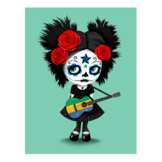 Sugar Skull Girl Playing Gabon Flag Guitar Postcard