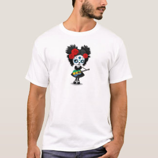 Sugar Skull Girl Playing Gabon Flag Guitar T-Shirt
