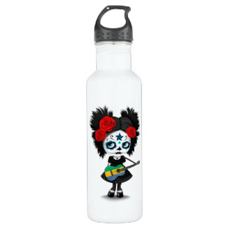Sugar Skull Girl Playing Gabon Flag Guitar Water Bottle