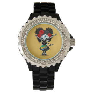 Sugar Skull Girl Playing Gabon Flag Guitar Wristwatch