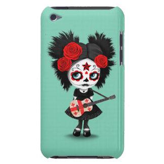 Sugar Skull Girl Playing Georgian Flag Guitar Barely There iPod Covers