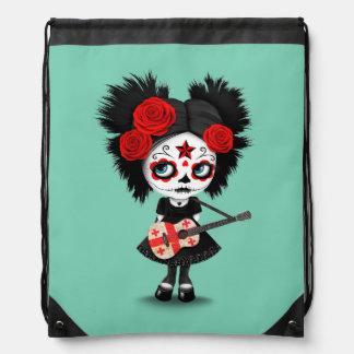 Sugar Skull Girl Playing Georgian Flag Guitar Backpacks