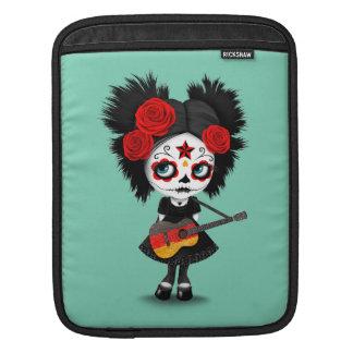 Sugar Skull Girl Playing German Flag Guitar iPad Sleeve
