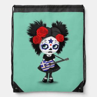 Sugar Skull Girl Playing Greek Flag Guitar Drawstring Backpack