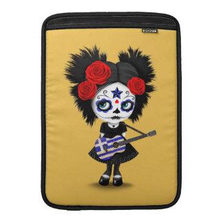 Sugar Skull Girl Playing Greek Flag Guitar MacBook Sleeve