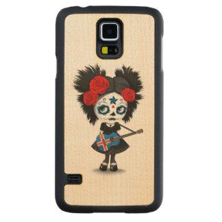 Sugar Skull Girl Playing Icelandic Flag Guitar Carved® Maple Galaxy S5 Slim Case