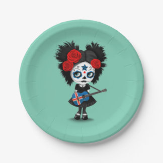 Sugar Skull Girl Playing Icelandic Flag Guitar Paper Plate