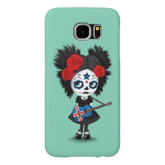Sugar Skull Girl Playing Icelandic Flag Guitar Samsung Galaxy S6 Case