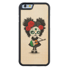 Sugar Skull Girl Playing Irish Flag Guitar Carved Maple Iphone 6 Bumper Case at Zazzle