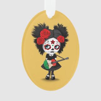 Sugar Skull Girl Playing Italian Flag Guitar