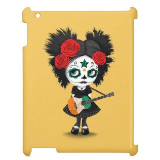 Sugar Skull Girl Playing Ivory Coast Flag Guitar iPad Cover