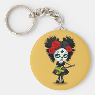 Sugar Skull Girl Playing Jamaican Flag Guitar Basic Round Button Keychain