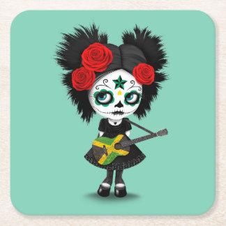 Sugar Skull Girl Playing Jamaican Flag Guitar Square Paper Coaster