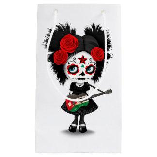 Sugar Skull Girl Playing Jordanian Flag Guitar Small Gift Bag