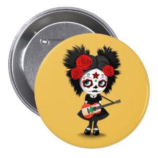 Sugar Skull Girl Playing Lebanese Flag Guitar Button