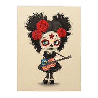 Sugar Skull Girl Playing Malaysian Flag Guitar Wood Wall Decor