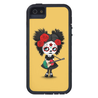 Sugar Skull Girl Playing Mexican Flag Guitar Case For iPhone SE/5/5s