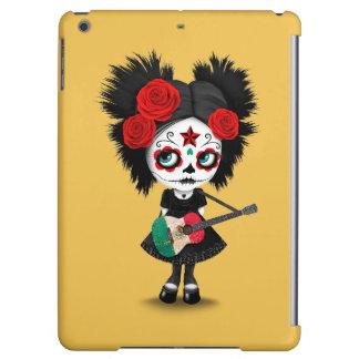Sugar Skull Girl Playing Mexican Flag Guitar iPad Air Cover